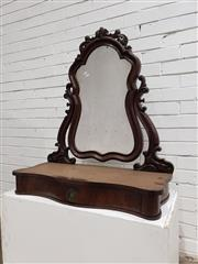 Sale 9085 - Lot 1064 - Victorian Carved Mahogany Dresser Top Mirror, on shaped supports, the base fitted with a drawer (h:106 x w:84 x d:47cm)
