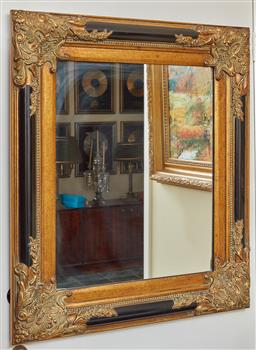 Sale 9097H - Lot 21 - An antique style black and burnt gold framed mirror, 82cm x 74cm