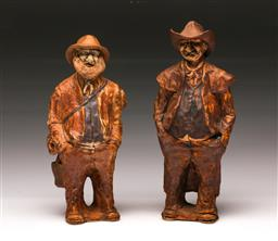 Sale 9110 - Lot 99 - A pair of Australian pottery figures (H:22cm)