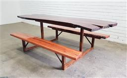 Sale 9137 - Lot 1037 - Live edge resin picnic table with mahogany top, serving board and blackbutt benches (h:74 x w:224 x w:135cm)