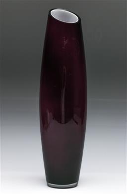 Sale 9148 - Lot 71 - A modernist Amythest and white cased glass vase, (H:40cm)