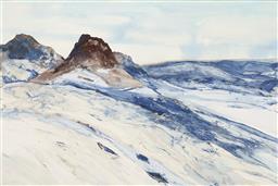 Sale 9195 - Lot 506 - JOHN CALDWELL (1942 - ) Pramnes Mountains, Anarctica watercolour 98 x 148 cm (frme: 117 x 177 x 5 cm) signed lower right