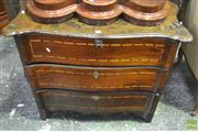Sale 8335 - Lot 1017 - Possibly 18th Century Italian Walnut Serpentine Front Chest of Three Drawers, inlaid with bamboo (?) banding