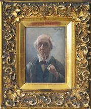 Sale 8575J - Lot 38 - V. Schaller (19th Century) - Portrait of Elderly Gent 20 x 14.5cm