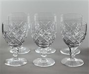 Sale 8444A - Lot 65 - A set of six English Stuart hand cut lead crystal wine glasses, H 11.5cm