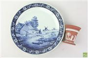 Sale 8477 - Lot 28 - Blue and White Charger with Wedgewood Vase