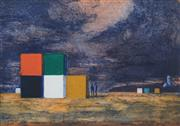Sale 8484 - Lot 557 - Jeffrey Smart (1921 - 2013) - Containers at Pisa Airport, 1998 16 x 23.5cm
