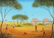 Sale 8484 - Lot 590 - Kym Hart (1965 - ) - Outback Football 17 x 12cm
