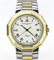 Sale 8655J - Lot 94 - A BAUME AND MERCIER RIVIERA WRISTWATCH; white dial with Roman numerals, centre seconds, date aperture  on quartz movement to dodecah...