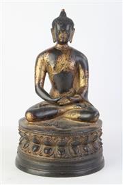 Sale 8832 - Lot 50 - Sino Tibetan Gilt Bronze Buddha of Shakyamuni (H 27cm)