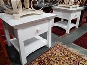 Sale 8822 - Lot 1186 - Pair of White Painted Bedsides