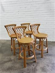 Sale 9063 - Lot 1084 - Set Of Four Vintage Cane Bar Stools With Rattan Tops (H93cm)