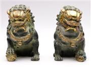 Sale 9078 - Lot 169 - A Pair Of Cast Metal And Gilt Painted Temple Dogs H: 14cm