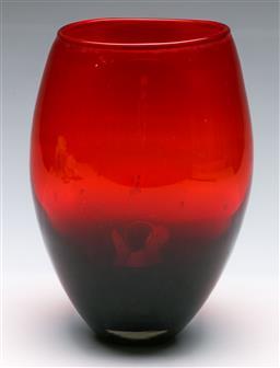 Sale 9173 - Lot 16 - Ruby Red Studio Glass Vase, H:23cm