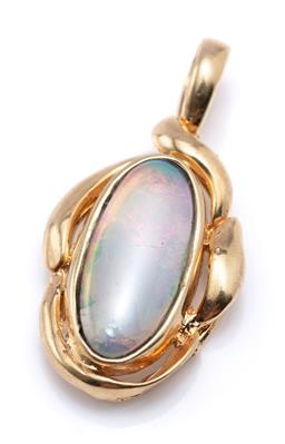 Sale 9213 - Lot 385 - A 14CT GOLD OPAL PENDANT; set with an oval cabochon solid crystal opal, size 23 x 12mm, wt. 2.05g.