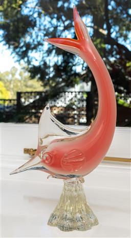 Sale 9256H - Lot 52 - A Venetian pink glass sword fish, repair to top of tail, H34.5cm.