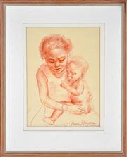 Sale 8358 - Lot 599 - Nora Heysen (1911 - 2003) - Mother and Child 33.5 x 24.5 cm