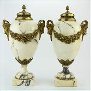 Sale 8372 - Lot 92 - Marble & Bronze Pair of Urns