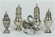 Sale 8422 - Lot 93 - English Hallmarked Sterling Silver Salt & Peppers with Other Silver Ware incl. a Swan Form Open Salt (Weight - 155g)