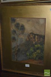 Sale 8425T - Lot 2094 - H M Childe - Mountain Scene, watercolour, 30 x 22.5cm, signed lower right