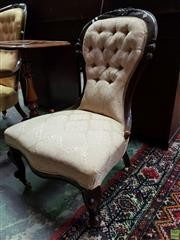 Sale 8585 - Lot 1718 - Victorian Carved Walnut Ladys Chair, with cream buttoned upholstery