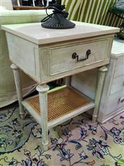 Sale 8629 - Lot 1030 - Pair of Travertine Top Side Tables with Rattan Shelf & Single Drawer