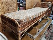 Sale 8680 - Lot 1061 - Tiger Cane Day Bed with Floral Upholstered Cushion