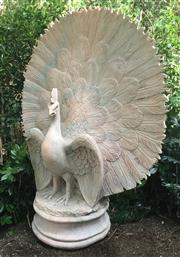 Sale 8772A - Lot 24 - An Impressive Large Carved Pink Marble Fine Detailed Peacock Statue Carved From One Piece On Marble General Wear Some Losses / Chipp...