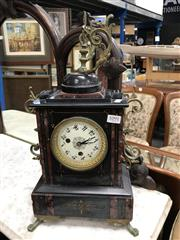 Sale 8805 - Lot 1091 - Reproduction Black Slate Mantle Clock with Ormalu Mounts