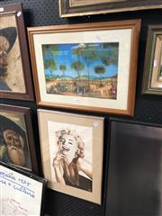Sale 8856 - Lot 2088 - 2 Works: Pro Hart Print & Marilyn Monroe, Watercolour, J.E.N. 86,LR