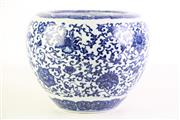 Sale 8877 - Lot 29 - A Chinese Blue And White Jardiniere Decorated With Flowers H:18cm