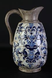 Sale 8977 - Lot 28 - A Blue and White Mosaic Style Ceramic Ewer (h:34cm)