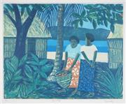 Sale 9067 - Lot 505 - Ray Crooke (1922 - 2015) - Fijian Village, 2003 60.5 x 76 cm (frame: 94 x 106 x 4 cm)