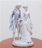 Sale 8430 - Lot 92 - A Lladró figural group of a young couple in C18th costume