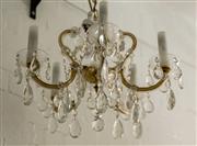 Sale 8420A - Lot 30 - An antique 1920s Czechoslovakian five branch crystal chandelier, featuring original hand cut tear drop pendants, and garlands, as well