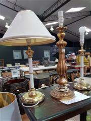 Sale 8589 - Lot 1043 - Pair of Table Lamps with Turned Gilt Lamp