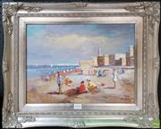 Sale 8604 - Lot 2036 - S. Hansen Beach Scene, acrylic on canvas, 44 x 55cm (frame), signed lower right