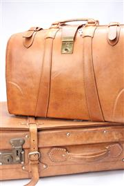 Sale 8706 - Lot 6 - A vintage Air New Zealand pilots tan leather Gladstone style briefcase Together with A Suitcase
