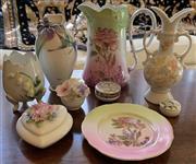 Sale 8510A - Lot 47 - A group of pretty floral ceramics including Franz, Coalport etc, the tallest H 17cm