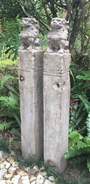 Sale 8772A - Lot 25 - A Pair Of Carved Stone Temple Guardian Lion Foo Dogs Horse Hitching Post Each Carved From Single Pieces Of Stone, General Wear , Som...