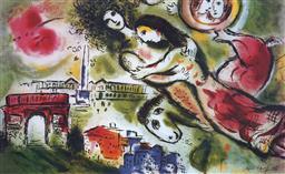 Sale 9081A - Lot 5004 - Marc Chagall (1887 - 1985) - Romeo & Juliet 56 x 89.5 cm (frame: 75 x 111 x 3 cm)