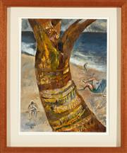 Sale 9023H - Lot 9 - JUDY CASSAB Palm and Beach, Byron, 1999., oil on paper, 36 x 27 cm. Signed, dated and titled verso. Provenance; Australian GAlleri...