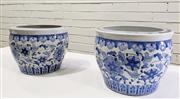 Sale 9063 - Lot 1008 - Pair Of Chinese Blue & White Planters Depicting Flora & Fauna (H21 x 27cm)