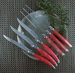 Sale 9240L - Lot 58 - 6-Piece Steak Knife Set in Lidded Box - Marble Red - Laguiole Luxe by Louis Thiers
