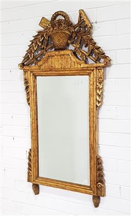 Sale 9191 - Lot 1009 - Timber carved gilt framed mirror (h:130 x 70cm)