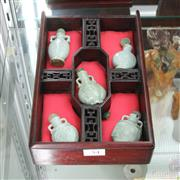 Sale 8304 - Lot 54 - Celadon Set of Five Snuff Bottles in Compartmentalised & Fitted Box