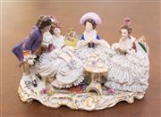 Sale 8341A - Lot 98 - A Rudolstadt crinoline figure group, W 20cm