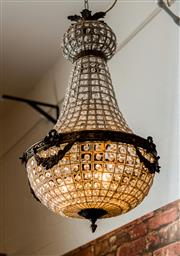 Sale 8420A - Lot 6 - A stunning French style bronze beaded Empire chandelier, a beautiful handmade rendition of the 1920's versions, re-wired to Australi..