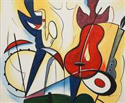 Sale 8604 - Lot 2012 - Artist Unknown - Jazz Quartet and Dancer 50.5 x 61.5cm