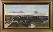 Sale 8759 - Lot 2008 - E Turton - Town View (possibly Parramatta) 26 x 49cm